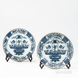 Pair of Blue and White Export Porcelain Chargers
