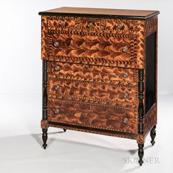 Paint-decorated Poplar Chest of Drawers