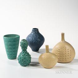 Three Jonathan Adler and Two Jallpa Nina Studio Pottery Vases