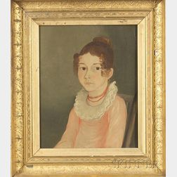 American School, 19th Century    Portrait of Miss Smith of Poughkeepsie, New York.