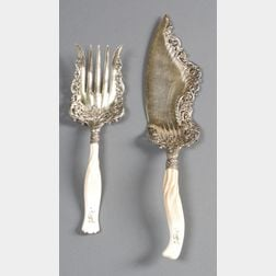Pair of Whiting Manufacturing Co. Rococo Revival Ivory Handled Fish Servers