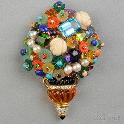 18kt Gold Gem-set Flower Basket Pendant/Brooch
