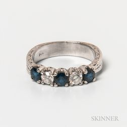 14kt Gold, Sapphire, and Diamond Five-stone Ring