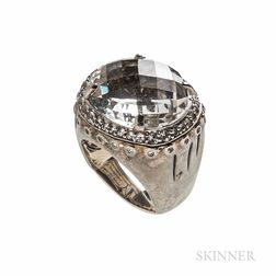 John Hardy Sterling Silver, Moon Quartz, and White Sapphire Bamboo Ring
