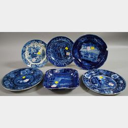 Five English Blue and White Transfer-decorated Staffordshire Plates and a Serving   Bowl