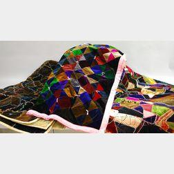Three Pieced Velvet Patchwork Quilts