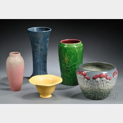 Weller Jardiniere and Four Rookwood Vases