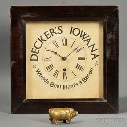 """""""Decker's Iowana"""" Wall Clock and Cast Iron Still Bank"""