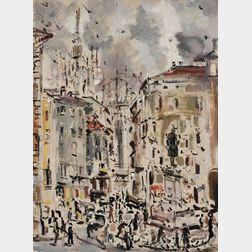 Filippo de Pisis (Italian, 1896-1956)      Piazza Beccaria a Milano
