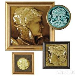 Three J. & J.G. Low Portrait Tiles and a Trenton Tile
