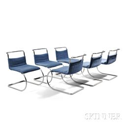 Six Mies van der Rohe MR Chromed Steel Chairs