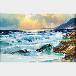 Alexander A. Dzigurski (American, 1911-1995)    Surf at Sunset