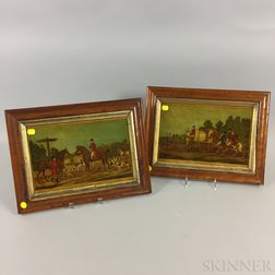 Pair of Framed Mezzotint on Glass Stag Hunting Scenes