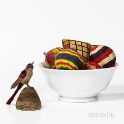 Group of Textile Items Including Six Multicolored String Balls and a Yarn Bird