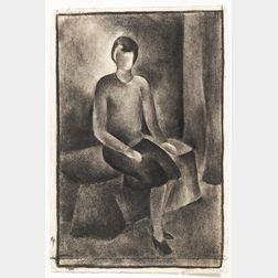 Evelyn Burdett (American, 20th Century)      Seated Female.