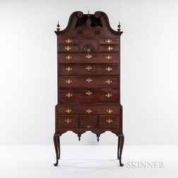 Queen Anne Carved Cherry Scroll-top High Chest of Drawers