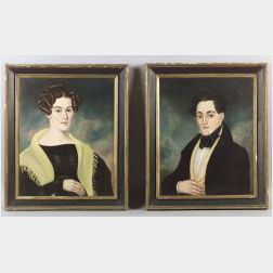 American School, 19th Century  Pair of Portraits of a Young Man and Woman.