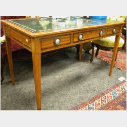 Louis XVI Style Leather Inset Inlaid Fruitwood Three-Drawer Library Table