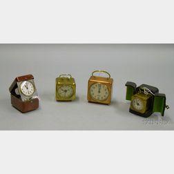 Group of Four Travel Alarm Clocks