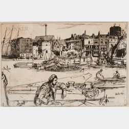 James Abbott McNeill Whistler (American, 1834-1903)      Black Lion Wharf