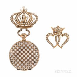 Antique 14kt Gold and Split Pearl Open-face Pendant Watch