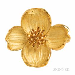 Tiffany & Co. 18kt Gold Dogwood Flower Brooch