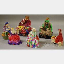 Six Royal Doulton Porcelain Figures and Figural Groups
