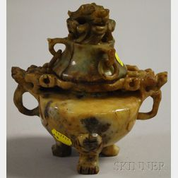 Asian Carved Jade Censer with Cover