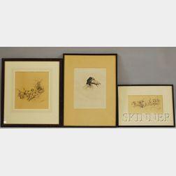 Three Framed Works of Sporting Dogs:      Thomas Ivester Lloyd (British, 1873-1942), Bassett Hounds