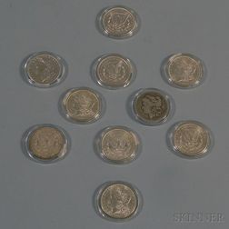Ten United States Morgan Silver Dollar Coins
