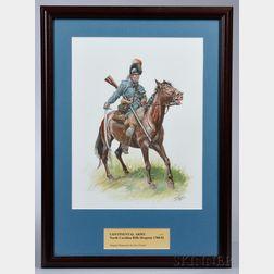 Original Framed Don Troiani Watercolor Figure Study of a North Carolina Rifle Dragoon
