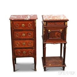 Two Louis XVI-style Inlaid Walnut Marble-top Chests