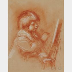 After Pierre-Auguste Renoir (French, 1841-1919)      Le Petit Peintre ,  Claude (Coco) at his Easel
