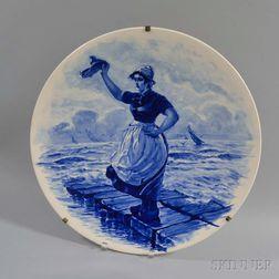 Royal Bonn Ceramic Charger of a Farewell Harbor Scene
