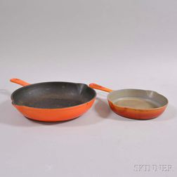 Two Orange-enameled Cast Iron Frying Pans