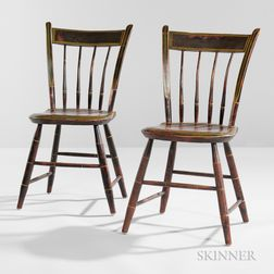 Pair of Paint-decorated Tablet-back Windsor Chairs