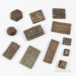 Eight Geometric Akan Goldweights and Four Box Lids