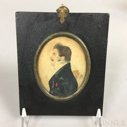 Framed Profile Portrait Watercolor of a Mustachioed Man