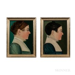 Benjamin Greenleaf (Massachusetts/New Hampshire, 1769-1821)      Two Portraits of Women of the Robert Goold Family