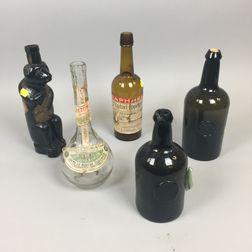 Five Glass Spirit Bottles