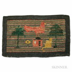 Pictorial Hooked Rug with Animals and Tree