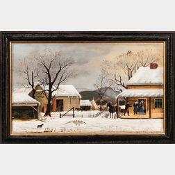 American School, Late 19th Century      Winter Farm Scene