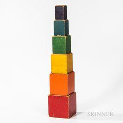 Stacking Set of Six Rainbow-painted Rectangular Blocks