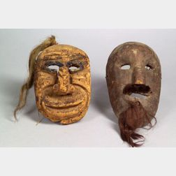 Two Mexican Carved Wood Masks