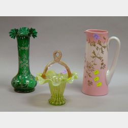 Victorian Art Glass Basket, Enamel Decorated Green Glass Vase, and an Attributed New England Glass Co. Pitcher....