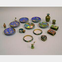 Seventeen Cloisonne Items in Floral Design Pattern