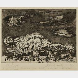 Pierre Alechinsky (Belgian, b. 1927)      Figure