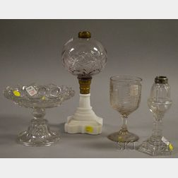 Four Mostly Colorless Pattern Glass Table Items