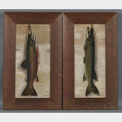 Walter L. Steward (American, Early 20th Century)      Pair of Fish Portraits:  Brook Trout