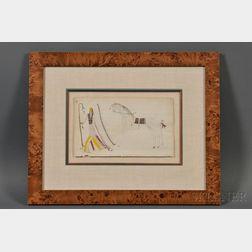 Southern Cheyenne Ledger Drawing